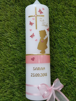 Taufkerze SK154-a SCHUTZENGEL mit Herzen in Gold mit Rosa & Altrosa Holoflitter & Goldschrift / Schmetterlinge