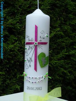 Taufkerze TK134 Herz mit Engel in Pink-Apfelgrün Holoflitter