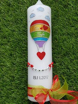 Taufkerze TK105-5 Heißluftballon in Regenbogenfarben Holoflitter