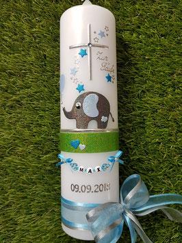Taufkerze Elefant TK210-4  Anthrazit-Hellblau-Türkis Holoflitter mit Sterne & Luftballon