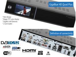 Gigablue HD Quad Plus (schwarz) + 1xDVB-C/T2 Tuner