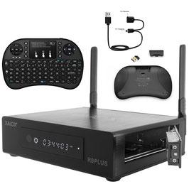 XAiOX® R9 Plus Netzwerk Mediaplayer + Rii i8+ 2.4GHz Mini Funktastatur mit Touchpad-Maus, LED Hintergrundbeleuchtung und eingebauter wiederaufladbarer Li-ion Batterie