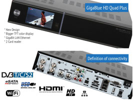 Gigablue HD Quad Plus (schwarz) + 2xDVB-C/T2 Tuner