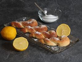 Zitronenschlaufen mit Hefe - Backmischung für 8 Stück inkl. Streuzucker (Erythrit)