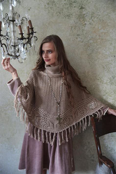 "PONCHO ""COSY MOMENTS"" MARRON CLAIR / JEANNE D'ARC LIVING"