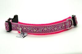 Halsband Mädchenherzen, 24 cm - 26 cm Halsumfang, Klickverschluss