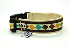 Halsband Preppy Chic beige, 33 cm - 35 cm Halsumfang, Klickverschluss