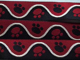 Pfötchen rot/schwarz, 15 mm