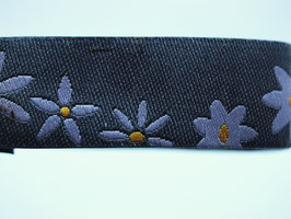 Blumenband grau, 15 mm