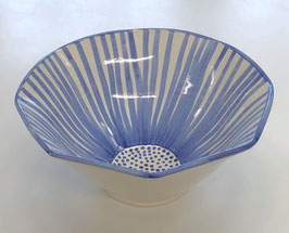 Light Blue Striped Bowl 9.5 Inches