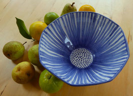 Blue Flower Striped Bowl