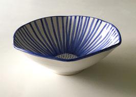 Blue Flower Striped Bowl