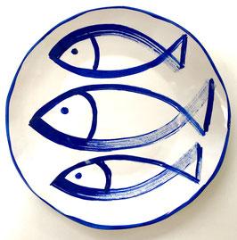 3 Fish Dinner/Serving Plate