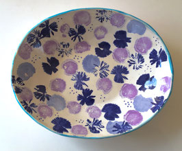 Oval Bowl of Wildflowers - in Purple, Blue & Turquoise