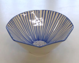 Light Blue Striped Bowl 10.5 Inches