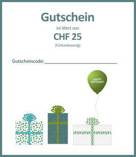 WERTGUTSCHEIN CHF 25 / C