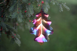 Oak Leaf-  Christmas decoration and mobile in heated stainless steel