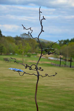 Birdfeeder tree bird stand sculpture with oak leaves in stainless steel