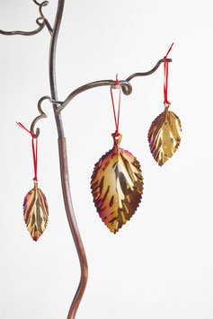 Large Beech Leaf- Christmas decoration and garden ornament in colourful stainless steel.