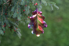 Small Oak Leaf -Christmas decoration and home accessory in colourful stainless steel.
