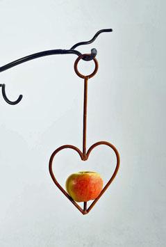 Heart apple/fatball bird feeder in rustic steel