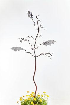 Birdfeeder tree bird stand sculpture with oak leaves in stainless steel