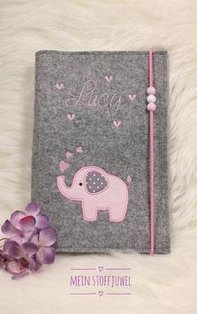 Personalisierte U-hefthülle Elefäntchen in rosa Bsp. Lucy