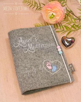 Mutterpasshülle personalisiert Herzschlag für Aysel weiß, rosa blau