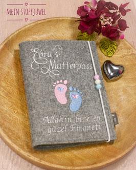 Mutterpasshülle personalisiert Mutterpass Babyfüßchen rosa, hellblau, weiß (Bsp. Ebru)
