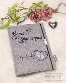 Mutterpasshülle personalisiert Herzschlag Bsp. Gamze schwarz , rosa blau