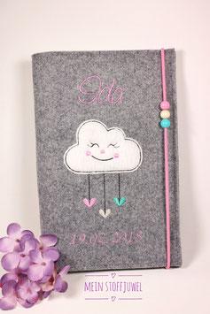 """Personalisierte U-hefthülle Wolke  Schrift rosa mit Geburtsdatum (""""Ida"""")"""