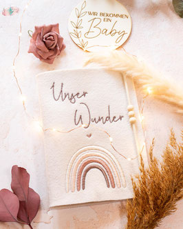 Mutterpasshülle Unser Wunder Regenbogen, erdtöne, Filz creme unifarben