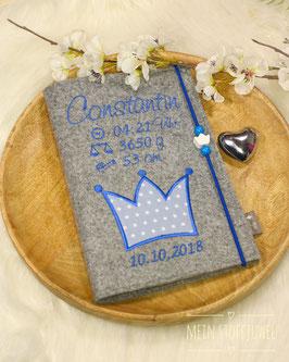 Personalisierte U-hefthülle Krone blau mit Geb.datum,Uhrzeit, Gewicht Bsp. Konstantin