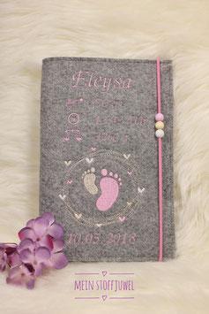 Personalisierte U-hefthülle Kreiselfuß Beispiel Eleysa rosa, creme, weiß
