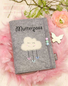 Mutterpasshülle Wolke drei Perlen rosa, mint, hellblau Schrift schwarz