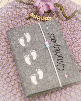 Mutterpasshülle Babyfüßchen weiß