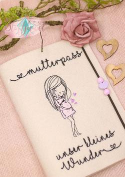 Mutterpasshülle creme uni, Unser kleines Wunder, flieder