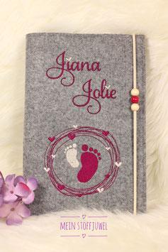 Personalisierte U-hefthülle, Jiana Jolie, creme und weinrot