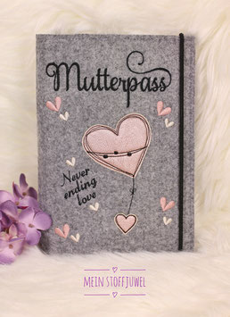 Mutterpasshülle Herz rosegold metallic, never ending love