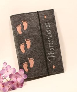 Mutterpasshülle Babyfüßchen bronze, dunkler Filz