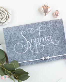U-hefthülle personalisiert Bsp. Sophia weiß
