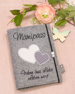 """Mutterpasshülle 2 Herzen grau/weiß mit Sprüchlein """"Liebe, Leben"""" (Mamipass)"""