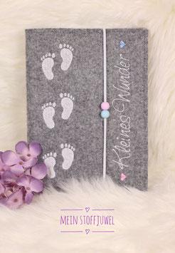 Mutterpasshülle Babyfüßchen weiß Kleines Wunder weiß