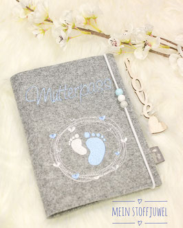 Mutterpasshülle Muttterpass hellblau, weiß, grau
