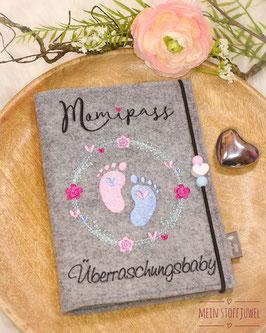Mutterpasshülle Mamipass im Blumenkreis Überraschungsbaby