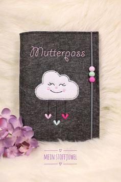 Mutterpasshülle Wolke dunkler Taschenfilz, drei Perlen rosa, mint, pink Schrift rosa