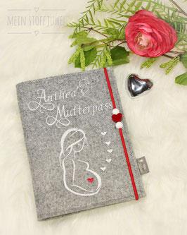 Mutterpasshülle personalisiert Skizzierte Frau weiß rotes Herz Bsp. Anthea