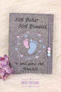 Mutterpasshülle Herzkreis mit Füßchen, 50 % Mama 50 % Papa  = und ganz viel Wunder! personalisiert Bsp. Bahar