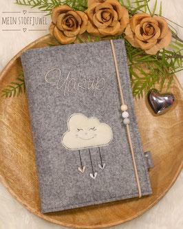 Personalisierte U-hefthülle Wolke creme, weiß, grau