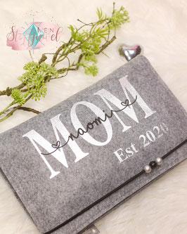 Windeltasche MOM bedruckt in silber Bsp.: Naomi